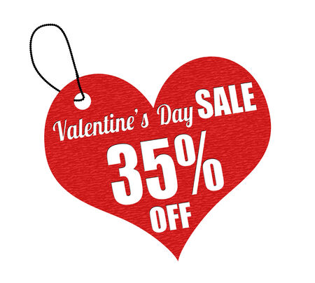bargains: Valentines sale 35 percent off red leather label or price tag on white background, vector illustration
