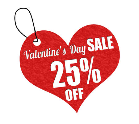 leather label: Valentines sale 25 percent off red leather label or price tag on white background, vector illustration