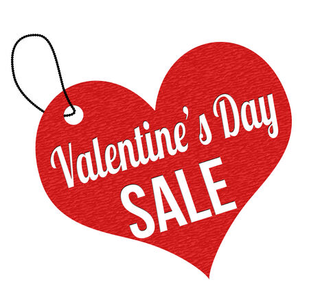 leather label: Valentines Day sale red leather label or price tag on white background, vector illustration Illustration