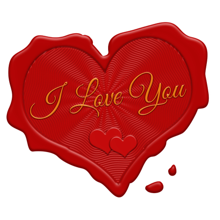 old envelope: I love you red wax stamp on a white background, vector illustration
