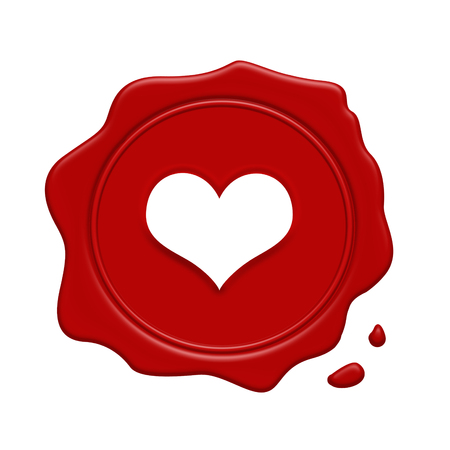 old stamp: Red wax stamp with heart inside on a white background, vector illustration Illustration