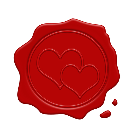 wax stamp: Red wax stamp with two hearts inside on a white background, vector illustration Illustration