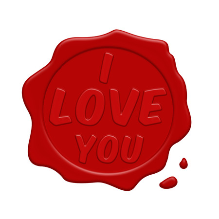 wax stamp: I love you red wax stamp on a white background, vector illustration