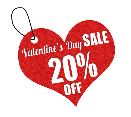 the day off: Valentines sale 20 percent off red leather label or price tag on white background, vector illustration Illustration