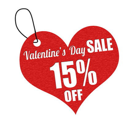 Valentines sale 15 percent off red leather label or price tag on white background, vector illustration Vector