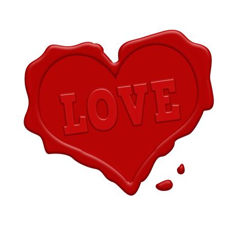 tampon cire: Amour timbre de cire rouge sur un fond blanc, illustration vectorielle