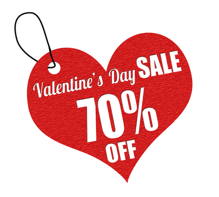 leather label: Valentines sale 70 percent off red leather label or price tag on white background, vector illustration