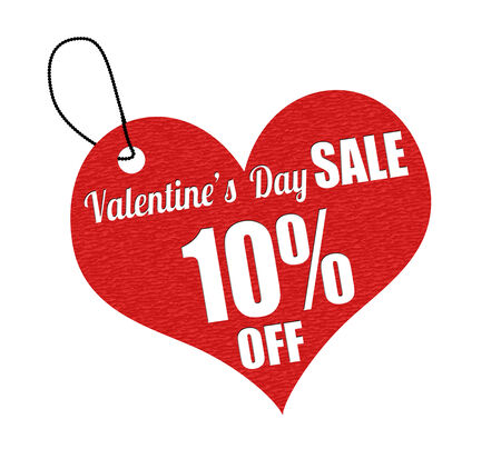 the day off: Valentines sale 10 percent off red leather label or price tag on white background, vector illustration