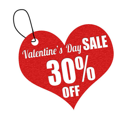 the day off: Valentines sale 30 percent off red leather label or price tag on white background, vector illustration