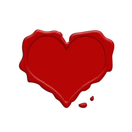 wax stamp: Heart red wax stamp on a white background, vector illustration Illustration