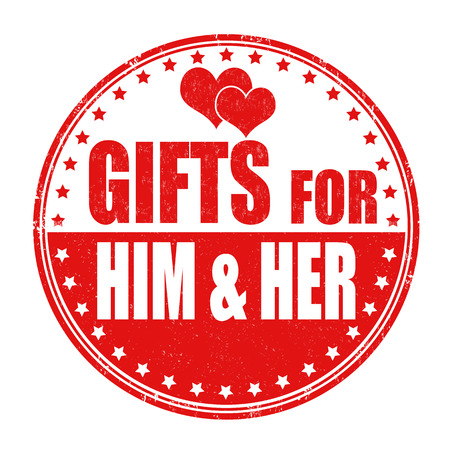 him: Gifts for him and her grunge rubber stamp on white background Illustration