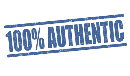 authenticity: 100 percent authentic grunge rubber stamp on white background