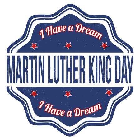 kings: Martin Luther King Day grunge rubber stamp on white Illustration