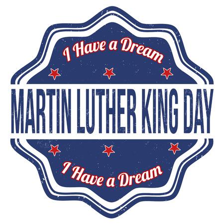 rey: Martin Luther King Day sello de goma del grunge en blanco