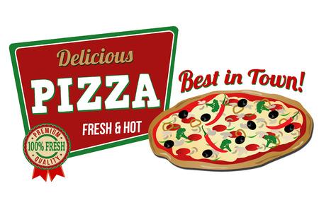 pizzeria label design: Pizza icon on white background, vector illustration