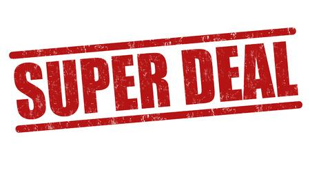 good deal: Super deal grunge rubber stamp on white, vector illustration Illustration