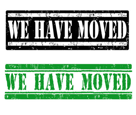 moved: We have moved grunge rubber stamps on white, vector illustration