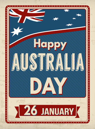 australia: Australia day poster in vintage style, vector illustration Illustration