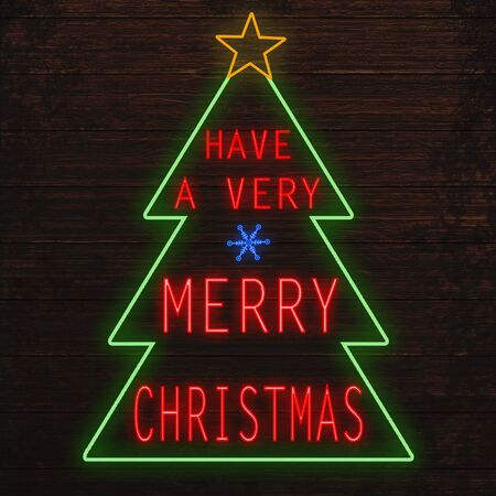 fluorescent lights: Have a very Merry Christmas glowing neon sign on wood texture wall Stock Photo