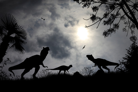 triassic: Dinosaurs silhouettes in beautiful cloudy landscape, background illustration Stock Photo