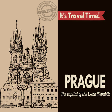 Vintage touristic poster with Prague in vintage style, vector illustration Vector