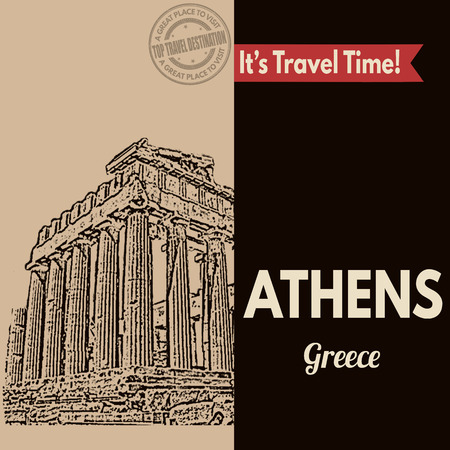 athens: Vintage touristic poster with Athens in vintage style, vector illustration Illustration