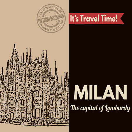 roman catholic: Vintage touristic poster with Milan in vintage style, vector illustration Illustration