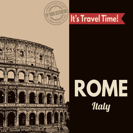 Vintage touristic poster with Rome in vintage style, vector illustration Иллюстрация