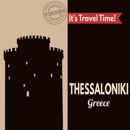 Vintage touristic poster with Thessaloniki in vintage style, vector illustration