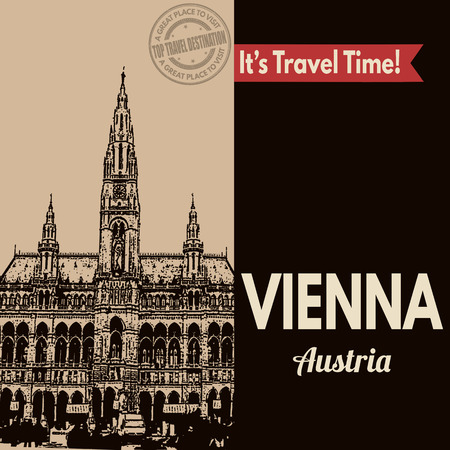 touristic: Vintage touristic poster with Vienna in vintage style, vector illustration Illustration