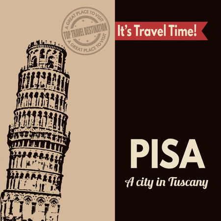 pisa: Vintage touristic poster with Pisa in vintage style, vector illustration