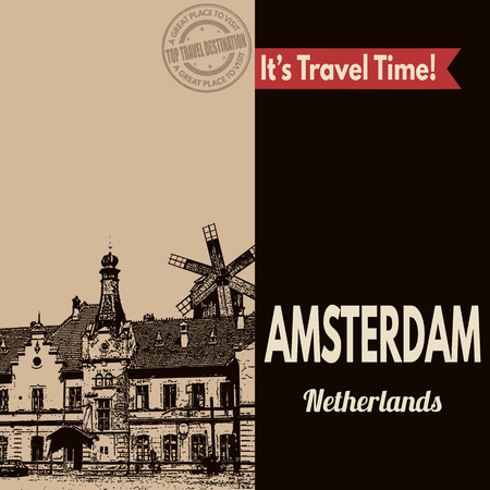 dutch landmark: Vintage touristic poster with Amsterdam in vintage style, vector illustration
