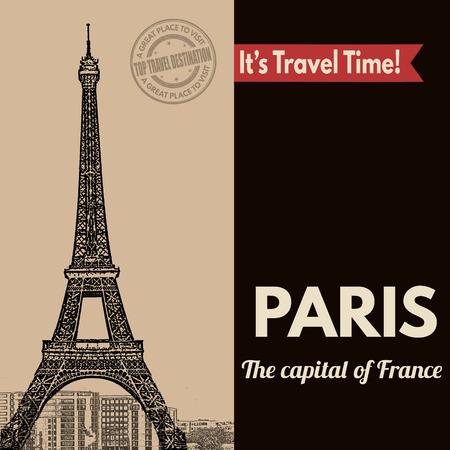 paris vintage: Cartel turístico del vintage con París en el estilo vintage, ilustración vectorial Vectores