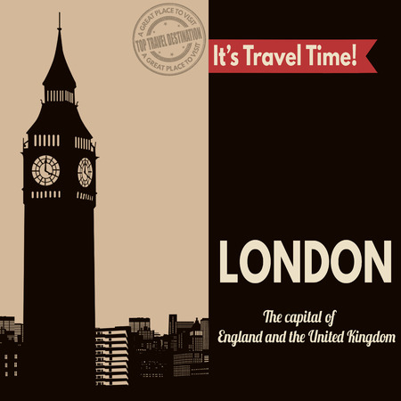 british culture: Vintage touristic poster with London in vintage style, vector illustration
