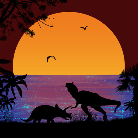 triceratops: Dinosaurs Silhouettes - Tyrannosaurus T-Rex and Triceratops, in beautiful seascape at sunset near ocean