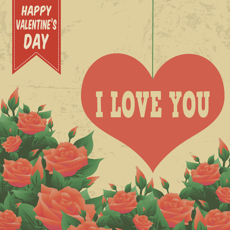 fourteen: Happy Valentines Day poster in vintage style, vector illustration Illustration