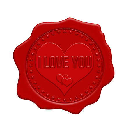 stamp: I love you red wax seal on a white background, vector illustration