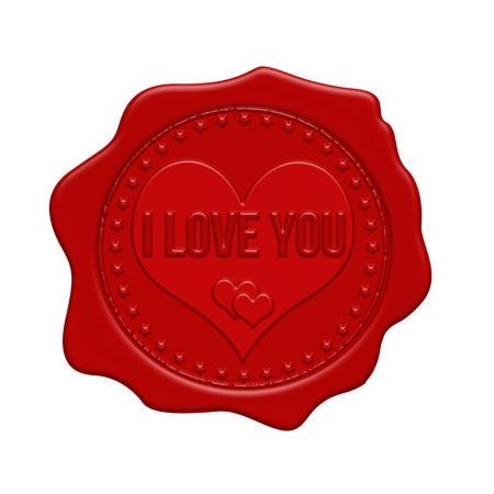 FOCAS: Te amo sello de cera roja sobre un fondo blanco, ilustraci�n vectorial