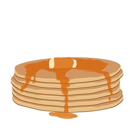maple syrup: Panqueques con jarabe de arce y mantequilla en el fondo blanco, ilustraci�n vectorial