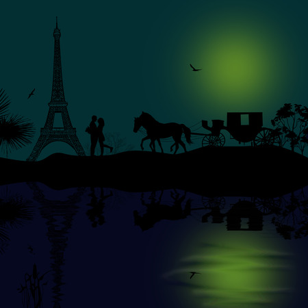Carriage and lovers at beautiful night in Paris, romantic background photo
