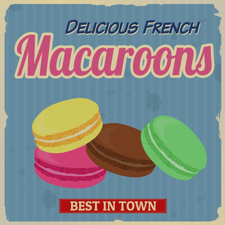 french fancy: Macaroons retro poster in vintage style, vector illustration