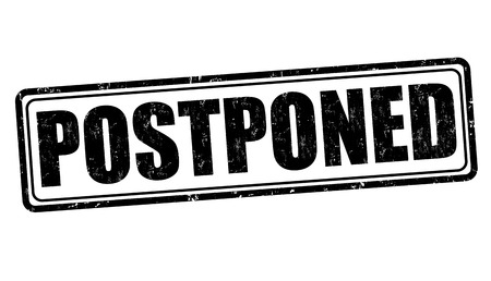 grungy header: Postponed grunge rubber stamp on white background, vector illustration
