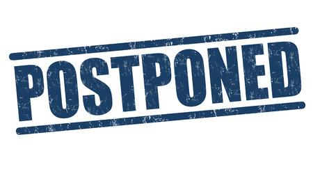 Postponed grunge rubber stamp on white background, vector illustration