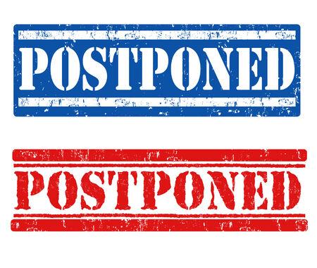 delay: Postponed grunge rubber stamps on white background, vector illustration