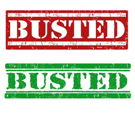 busted: Busted grunge rubber stamps on white background, vector illustration