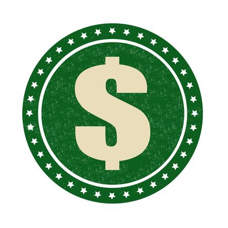 Dollar symbol on  grunge rubber stamp on white background, vector illustration