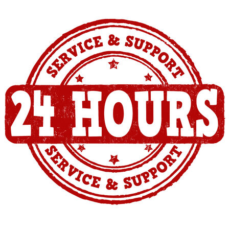 twenty four hours: 24 hour service and support grunge rubber stamp on white background, vector illustration