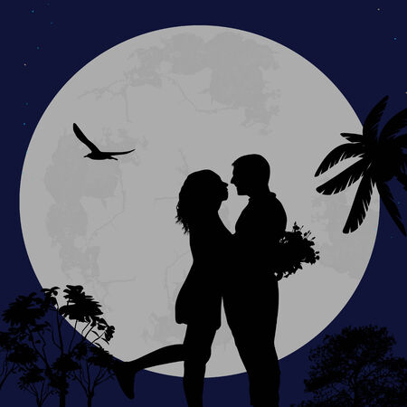 marriage proposal: Lovers in the city park in front a full moon, vector illustration