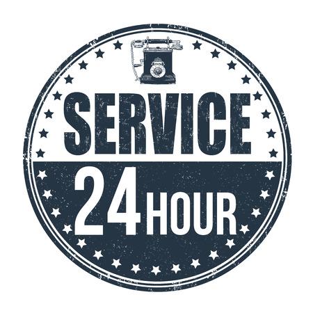 twenty four hours: 24 hour service grunge rubber stamp on white background, vector illustration