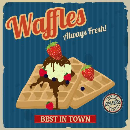 ビンテージ ワッフル チョコレート、アイスクリームとベリーのポスター デザイン、ベクトル イラスト